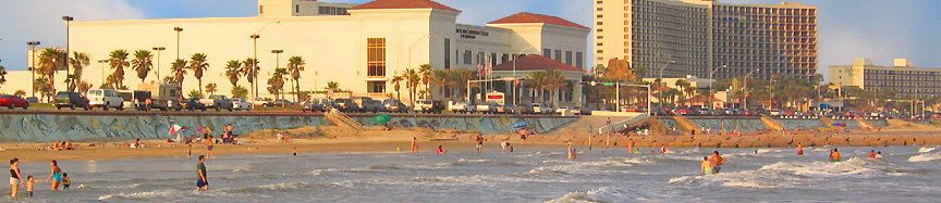 The beach, seawall and Galveston Island Convention Center at San Luis Resort.
